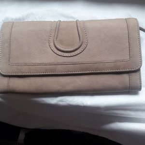COMPTOIR DES COTONNIERS khaki leather clutch